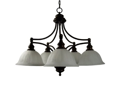 Yosemite Home Decor 5035-5Db Broadleaf 5 Light Chandelier, Frosted White Marble Glass Shades, Dark Brown Finished Frame