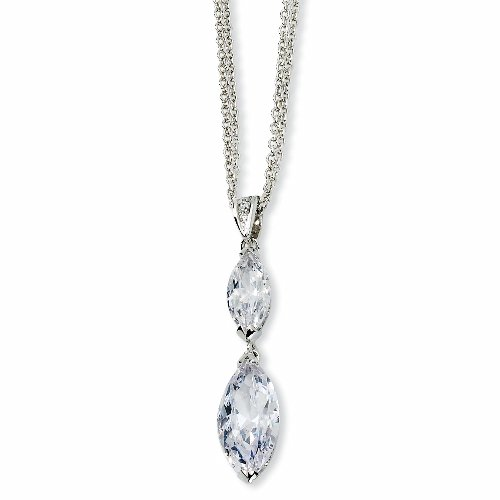 Sterling Silver Marquise CZ 17in w/2in ext Double Strand Necklace