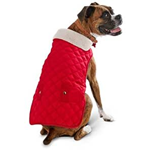 Amazon.com : Petco Pup Crew Quilted Red Dog Jacket, X