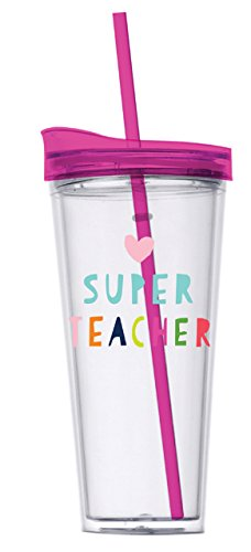 Teacher Gift - Super Teacher 22 Oz. Double Wall Insulated Tumbler with Lid and Straw