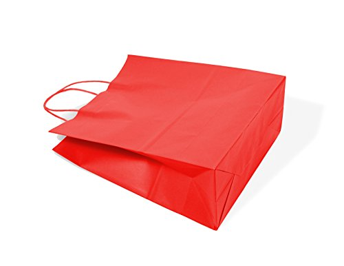 12CT LARGE RED BIODEGRADABLE PAPER, PREMIUM QUALITY PAPER (STURDY & THICKER), KRAFT BAG WITH COLORED STURDY HANDLE (Large, Red)