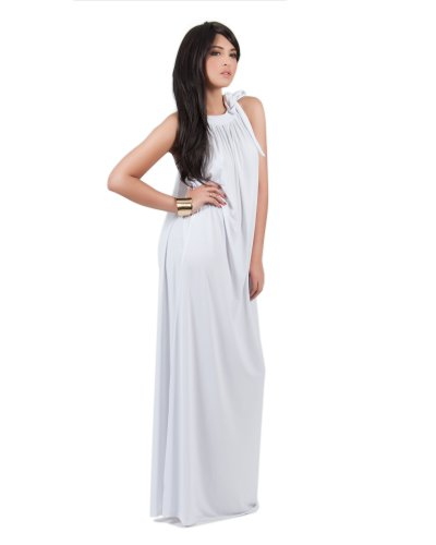 Koh Koh Women's Sleeveless Slimming Long Summer Cocktail Evening Gown Maxi Dress – Medium – Off White