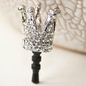 Diamond Crown Earphone Jack Dock Plug Ear Cap Anti-Dust Plug Stopper For Iphone 5 - White