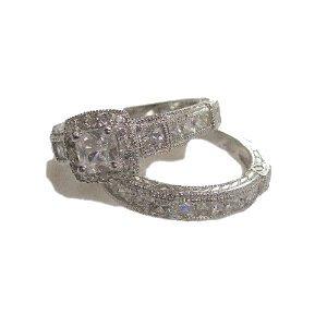 2.25ct Antique Estate Style Wedding Engagement Ring Set