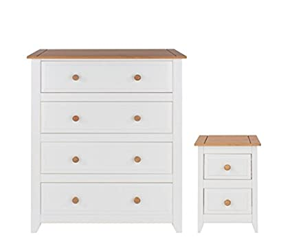 4 Drawer Chest & 2 Drawer Bedside Bedroom Furniture White & Solid Pine Tops