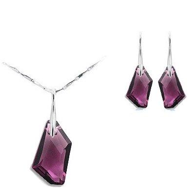Swarovski Amethyst Crystal Elements Earrings and Pendant Set
