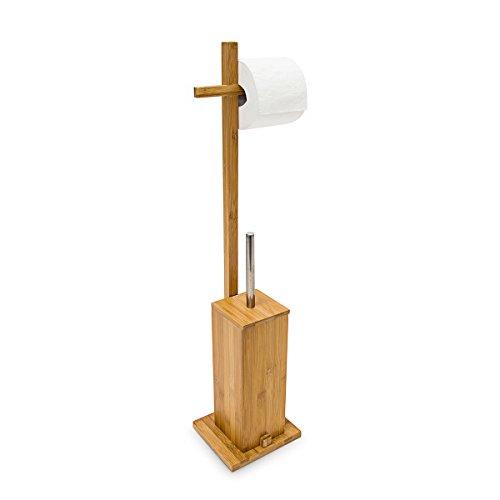 Relaxdays 10019020 escobillero y portapapeles 75 x 17 x for Accesorios bano bambu