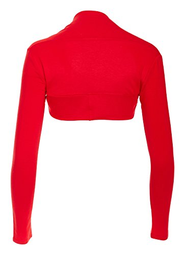 Red Hanger Women Bolero Long Sleeve Shrug Crop Top, Red-S