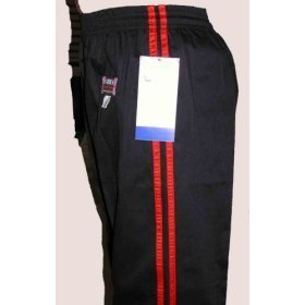 Kick Boxing Pants-SATIN-Black & 2 Red Stripes- 5/180