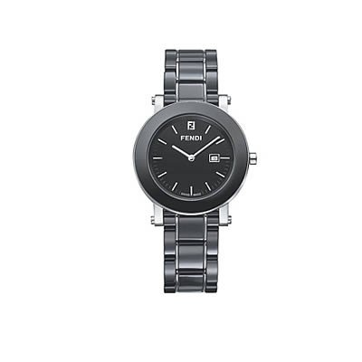 Fendi Ladies Black Ceramic Date Swiss Quartz Bracelet Dress Watch F641110