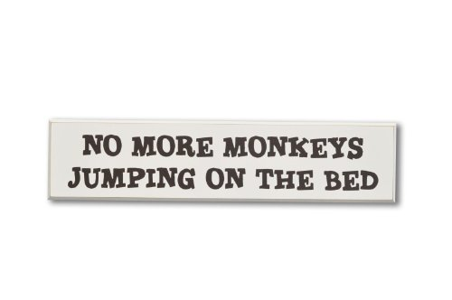 Homeworks Etc No More Monkeys Jumping On The Bed Wood Sign, Ivory/Brown front-268290