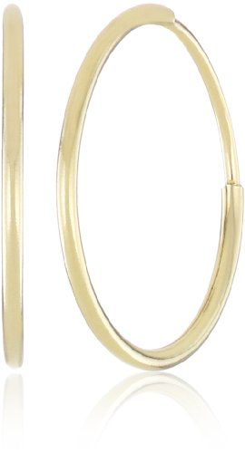"Duragold 14k Yellow Gold Endless Hoop Earrings, (0.45"" Diameter)"