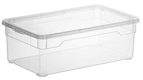 """Aufbewahrungsbox """"Clear Box Lady Shoe"""" 5 L. von Rotho mit Deckel - QR-Code AppMyBox - 5 L. Volumen - (LxBxH) 33x19x11 cm - transparent - stapelbar - Kunststoff/Plastik (PP) - Div. Größen"""