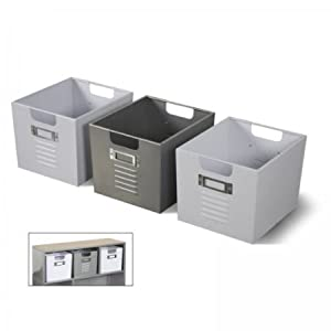 Locker Bins For Bookcase (Set Of 3 - 2 White, 1 - Silver) by American Furniture Alliance