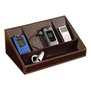 Faux Leather Charging Station (Brown) (11.5