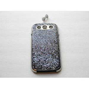 """Grey / Silver"" Luxury Bling Rhinestone Chrome Splash Bling Hard Plastic Case For Samsung Galaxy S3 / Siii (Bonus: Free Bling Bow Earphone Dust Plug)"