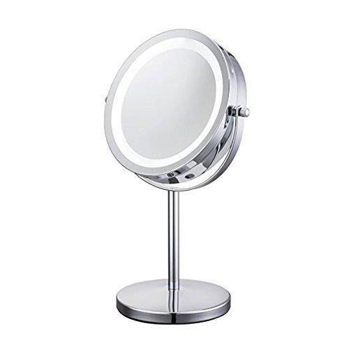 JEKING-360-Tisch-Spiegel-1-10-Fach-Vergrerung-Doppelseitiger-Schlafzimmer-7-Inch-Kosmetikspiegel-205-135-315-cm-Chrom-gebrstet-LED