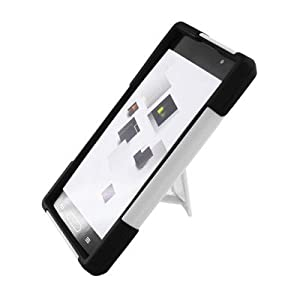 For LG Optimus L9 T-Mobile P769 Hybrid Case Black White with Y Shape Stand