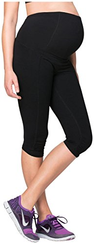 Ingrid & Isabel Women's Crossover Panel Active Maternity Pant - Knee, Black, Large
