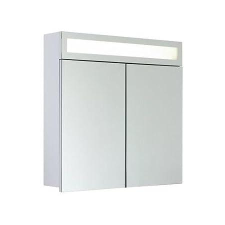 """myBATH MYBSPKMD - Armadietto a specchio """"Horizon"""", ripiani regolabili in vetro, lampada fluorescente T5, chiusura morbida, interruttore a levetta esterno, premontato 60 cm bianco"""