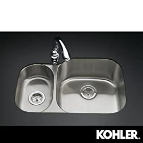 KOHLER K-3355-L-NA Undertone High/Low Undercounter Kitchen Sink