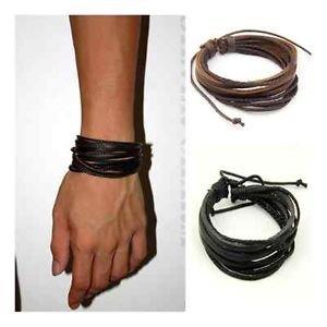 New Fashion Men Surfer Tribal Wrap Multilayer Genuine Leather Cuff Bracelet (Black) by Preciastore