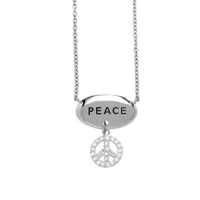 Sterling Silver Chain Necklace with CZ Diamonds Peace Symbol Pendant & Top Engraved Peace Polished Oval (WoW !With Purchase Over $50 Receive A Marcrame Bracelet Free)