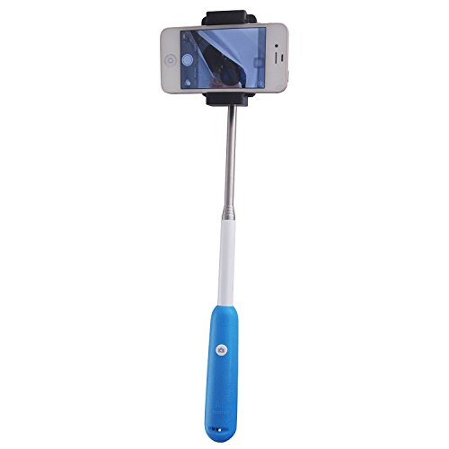 Irainy Extendable Self-Portrait Telescopic Handheld Pole Monopod W Built-In Rechargeable Wireless Bluetooth Remote Shutter For Apple Iphone 6/5/5C/5S/4S/4, Ipad 4/3/2, Ipad Air, Samsung Galaxy S4 S5 Note2 Note3 4 Android Ios (Blue)