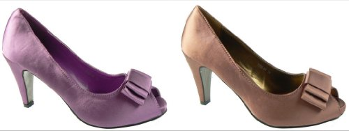 Ladies Purple Lilac/Bronze Satin Bow Heels Bridesmaids Peep Toe Court Shoes