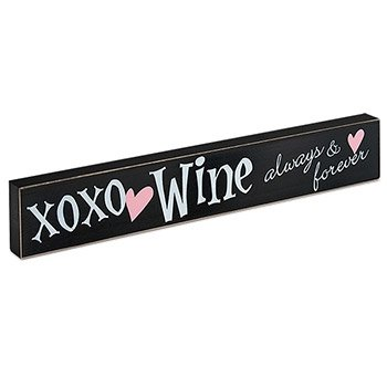 Xoxo Wine Always And Forever Wooden Block Decorative Sign, Black front-31871