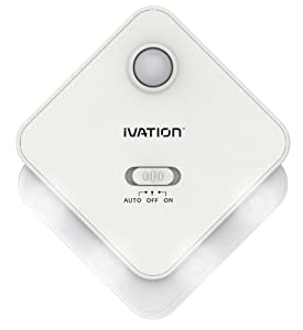 Ivation 4-LED Motion Sensor Light - WHITE - Battery Powered Night Light with a Built in Motion and Light Sensor