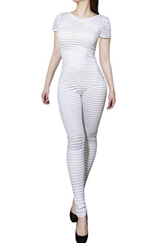 2b67aea8941314 Womens Sexy Short Sleeve Sheer Mesh Stripe Pattern Scoop Back Jumpsuit  (Large, White-1A7624)