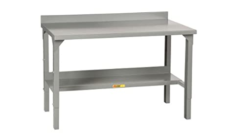 "Little Giant WA-2872 Steel Welded Adjustable Stationary Workbench with Backstops, 3000 lbs Capacity, 72"" Width x 28"" Depth"