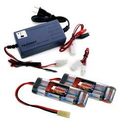 2 pcs Tenergy 8.4v 1600mAh NiMH Flat Battery Packs for Airsoft Guns w/ A Tenergy 7.2V - 12V NiMH/NiCd Smart Universal Battery Pack Charger