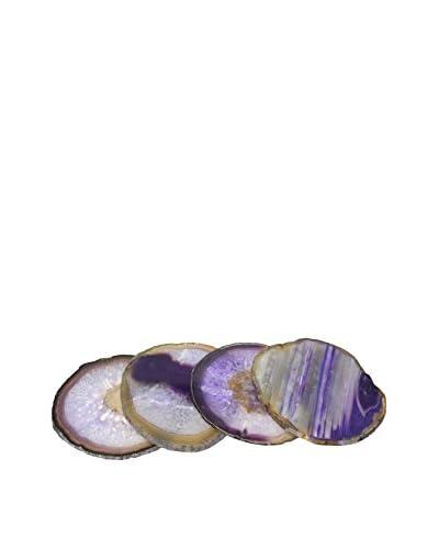 FA100634 Set of 4 Agate Coasters, Purple
