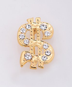 Rhinestone Gold plated Money Sign Pin Brooch
