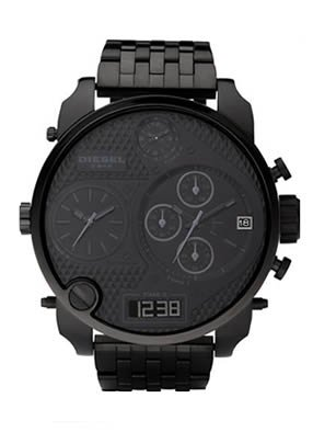 Diesel DZ7214 Men's Black Stainless SBA 4 Time Zone Watch