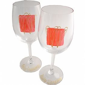 40th Wedding Anniversary Ruby Wedding Wine Glasses(sq)