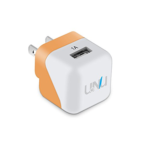 UNU (24W 1-Port 1A iPhone Charger [White / Orange] / USB Wall Charger with Plug) Apple Charger for iPhone 6s / 6 / 5s, iPad Air / mini, Samsung Galaxy S6 / Edge / Plus, Portable Chargers and More
