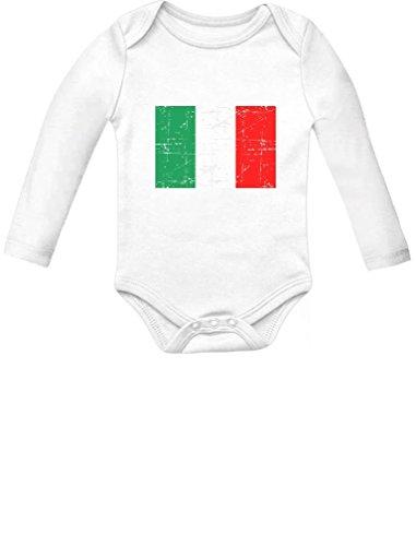 Italy Flag Vintage Style Retro Italian Bodysuit Baby Long Sleeve Onesie Newborn White (Italian Baby Soccer compare prices)