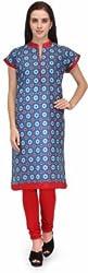 BPT Stylish Casual Wear Blue Printed Woman's Kurti ( Size 3XL / 46 Chest )