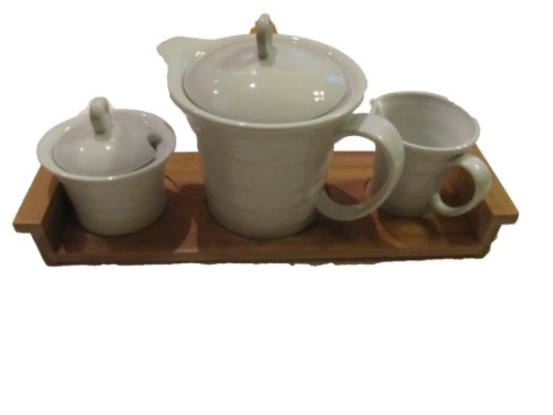 Chantilly Collection 5 Piece Tea Set With Bamboo Tray White