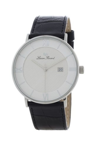 Swiss Watches:Lucien Piccard Swiss Movement Sharp White Dial Silver Tone Leather Date Watch 28183SL Images