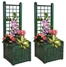 Set of 2 Brand New Attractive Verdigris Trellis Garden Planters (1241) Ideal for indoors or outdoors flowers and plants.