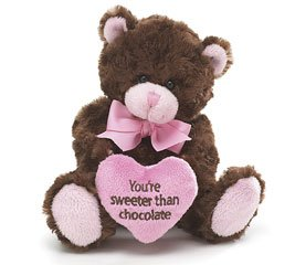 31nYXs7D8vL Buy  Youre Sweeter Than Chocolate Plush Brown and Pink Teddy Bear   Small