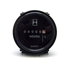 "TMSu00ae 2"" Quartz Round Back Trim Ring Hour Meter Boat Tractor Generator Engine Mower 6-80V 12-24-48 Volt John Deere Fork Light CAT"