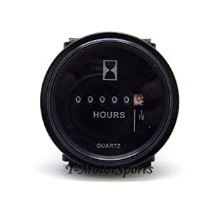 "2"" Quartz Round Back Trim Ring Hour Meter Boat Tractor Generator Engine Mower 6-80V 12-24-48 Volt John Deere Fork Light CAT"