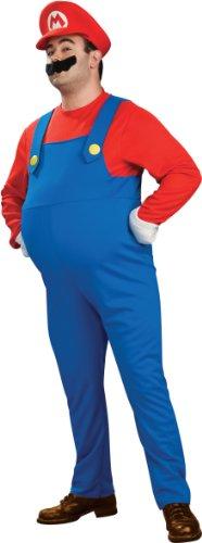 Super Mario Bros. - Deluxe Mario Adult Plus Costume スーパーマリオブラザーズ - マリオデラックス大人用プラスコスチューム♪ハロウィン♪サイズ:One-Size (Plus)