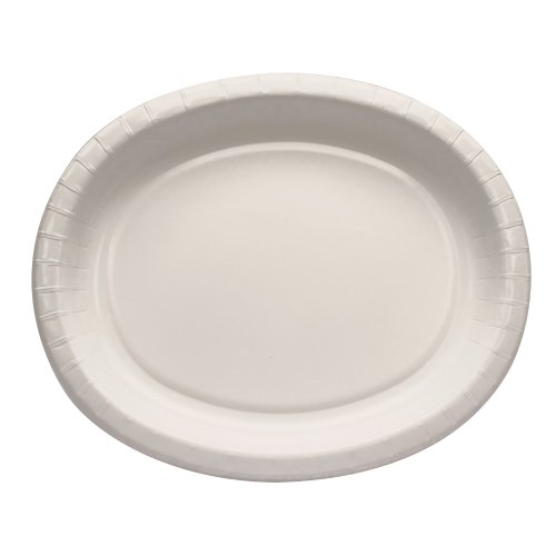 Creative Converting 8 Count Oval Paper Platters, White