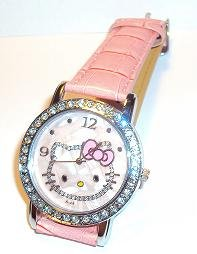Hello Kitty Crystallize Watch with Pink Leather Belt